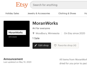 screen capture of MoranWorks on Etsy
